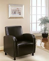 monarch specialties leather look accent chair in dark brown the