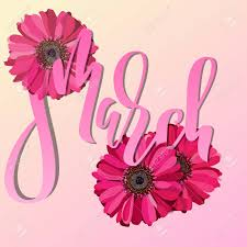 flowers international 8 march modern digital lettering for card with pink
