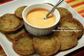 fleur de lolly fried green tomatoes with sriracha ranch dipping sauce