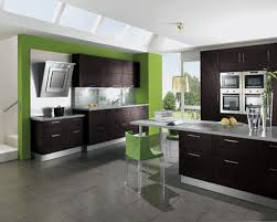 modern home kitchen design ideas with beauty green and white wall