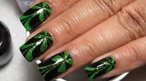 sparkly green u0026 black st patrick u0027s day water marble nail art