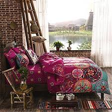 auvoau boho bedding set lightweight polyester microfiber duvet  with auvoau boho bedding set lightweight polyester microfiber duvet cover set  print floral design bohemian style bedding settwin full queen king size  twin  from aluxurybedcom