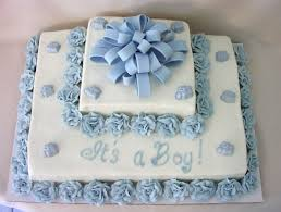 baby shower sheet cake with feet polka dots and rosette swirls