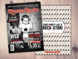 rock star magazine theme birthday invitation boy birthday