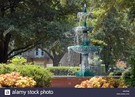 lafayette square and fountain in savannah georgia usa stock photo