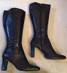womens boots marks and spencer marks and spencer black leather heeled buckle trim knee high boots