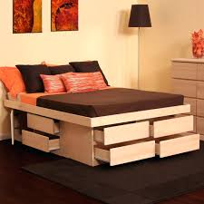 Platform Bed With Storage Underneath Platform Bed With Storage And Headboard Frame White