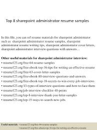 Administrative Resume Samples Free by Top8sharepointadministratorresumesamples 150331214917 Conversion Gate01 Thumbnail 4 Jpg Cb U003d1427856604