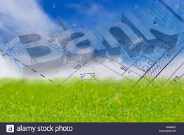background with blue sky green land blueprint of a house and