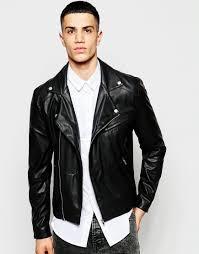 leather biker jacket asos faux leather biker jacket in black in black for men lyst