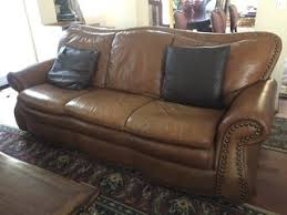 Used Leather Sofa by Handsome Leather Sofa With Riveted Trim In Gently Used Condition