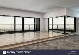 Eigentumswohnung Suchen 3d Rendering Eine Leere Große Offene Loft Oder Eigentumswohnung