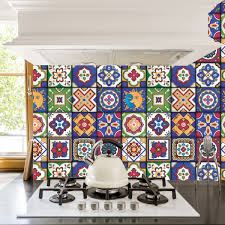 Mexican Tile Backsplash Kitchen by Mexican Tiles Stickers Set Of 16 Tiles Tile Decals Art For