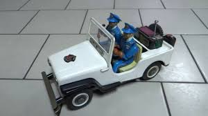police jeep toy 50s nomura tin battery op mystery action police patrol jeep car