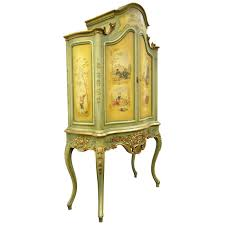 Curio Cabinet Remarkable French Louis Xv Style Vernis Martin Hand Painted Blind