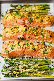 Free Dinner Ideas Garlic Parmesan Crusted Salmon And Asparagus