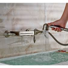 Tub Faucet With Handheld Shower Wall Mount Bathtub Waterfall Faucet With Hand Shower