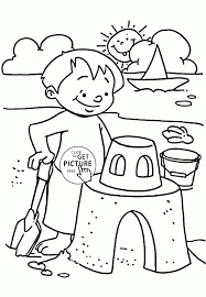 summer day on the beach coloring page for kids seasons coloring
