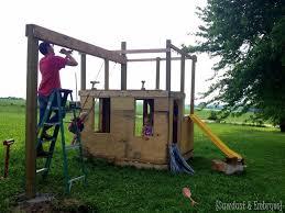 Backyard Swing Set Plans by Diy Playhouse Swing Set Update Part 2 Reality Daydream