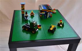 wood lego table with storage drawers