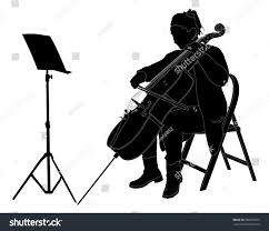young cellist vector silhouette siting playing stock vector