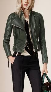 racing biker jacket burberry peplum waist quilted leather biker jacket in green lyst