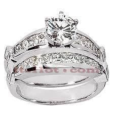 14k gold wedding ring sets gold designer engagement ring set 1 54ct