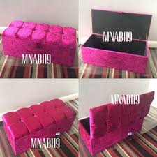 40inch pink crushed velvet ottoman storage box u2013 nabi u0027s
