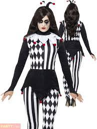 Halloween Jester Costume Ladies Jester Costume Harlequin Clown Fancy Dress Womens