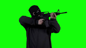 Green Man Meme - man in mask with gun action greenscreen 10 gun used airsoft colt