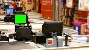Supermarket Cash Desk Billing Machine And Credit Card Terminal At Cash Counter In