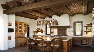 exposed brick fireplace spanish style kitchen mission style