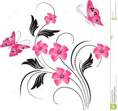 flower ornament with butterfly stock vector illustration of