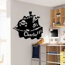 compare prices on pirate ship 3d wall mural online shopping buy decor sticker large personalised wall art pirate ship stickers boys mural kids name decal home room