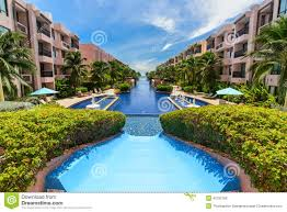 beautiful swimming pool in hotel thailand stock photo image