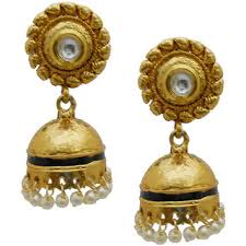 antique gold jhumka earrings my design antique gold plated bridal pearl kundan jhumka jhumki
