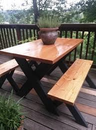 here u0027s a really classy at a picnic table finished wood on top and