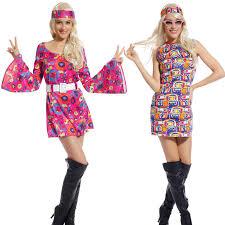 retro flower go go dress groovy hippie fancy dress 60s 70s