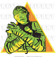 halloween money background royalty free vector retro illustration of a green mummy with arms