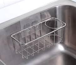 kitchen sink cabinet sponge holder 2 in 1 sponge holder rag holder for kitchen sink with adhesive 304 stainless steel kitchen sink sponge holder organization bask buy sponge
