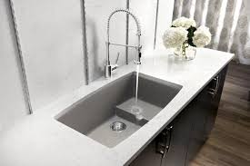 contemporary kitchen sink faucet ideas grey nickel arc high single handle kitchen faucet grey granite undermount