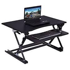 costway sitz steh schreibtisch schreibtischaufsatz laptop ständer