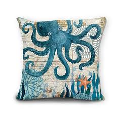 theme pillows wendana theme octopus linen pillow covers decorative 18