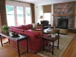 simple family room interior design ideas with stone fireplace and