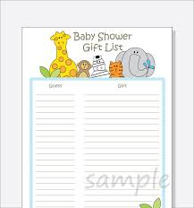 Baby Shower Gifts To Guests Diy Baby Shower Guest Gift List Printable Jungle Animals Design