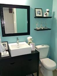 finally finished blue bathroom with black and white accents