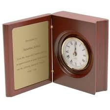 Personalized Clocks With Pictures Personalized Rosewood Book Style Clock With Picture Frame