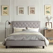 gray linen queen upholstered platform bed with button tufted