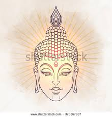 Decorative Buddha Head Head Buddha Vector Illustration Over Vintage Stock Vector