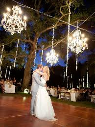 luxury wedding ideas chandeliers with fresh flowers inside